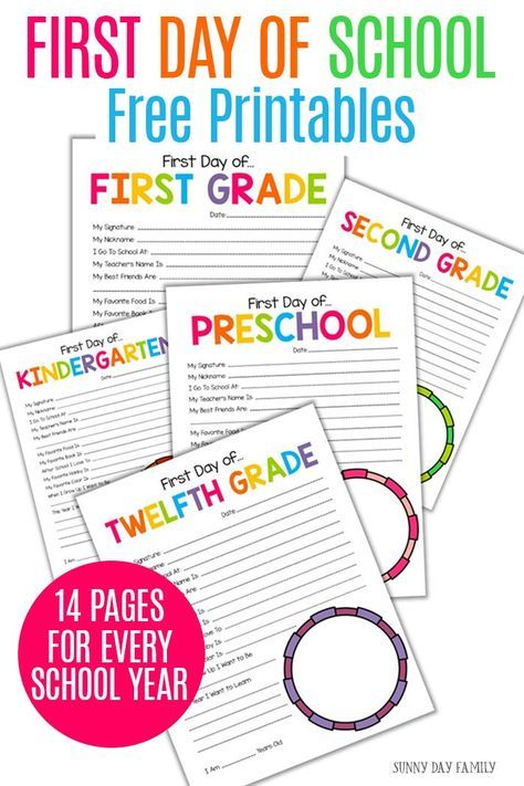 All About Me on the First Day of School: Free Printables for Every Year #firstdayofschoolsign