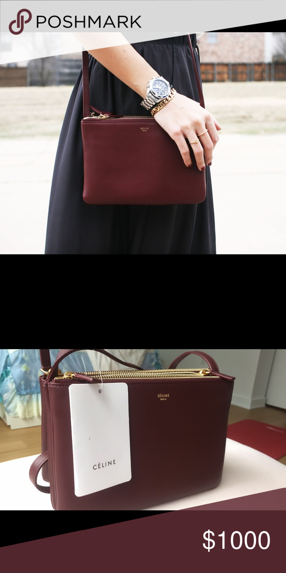 Celine trio in burgundy Only used a few time. In great condition. No  obvious scratches. Original dust bag included. Celine Bags Crossbody Bags 6107d513f6