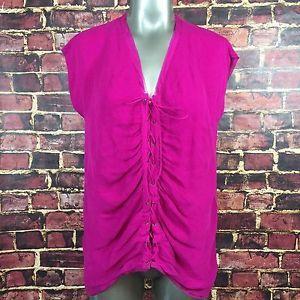Diane Von Furstenberg Pink Silk Blouse Size 8 Shirt Lace Up Front Sleeveless | eBay