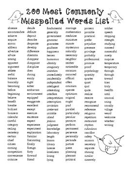 Free200 Spelling Most Commonly Misspelled And Misused Words List Ccss Aligned Spelling Words List Spelling Bee Words Teaching Spelling