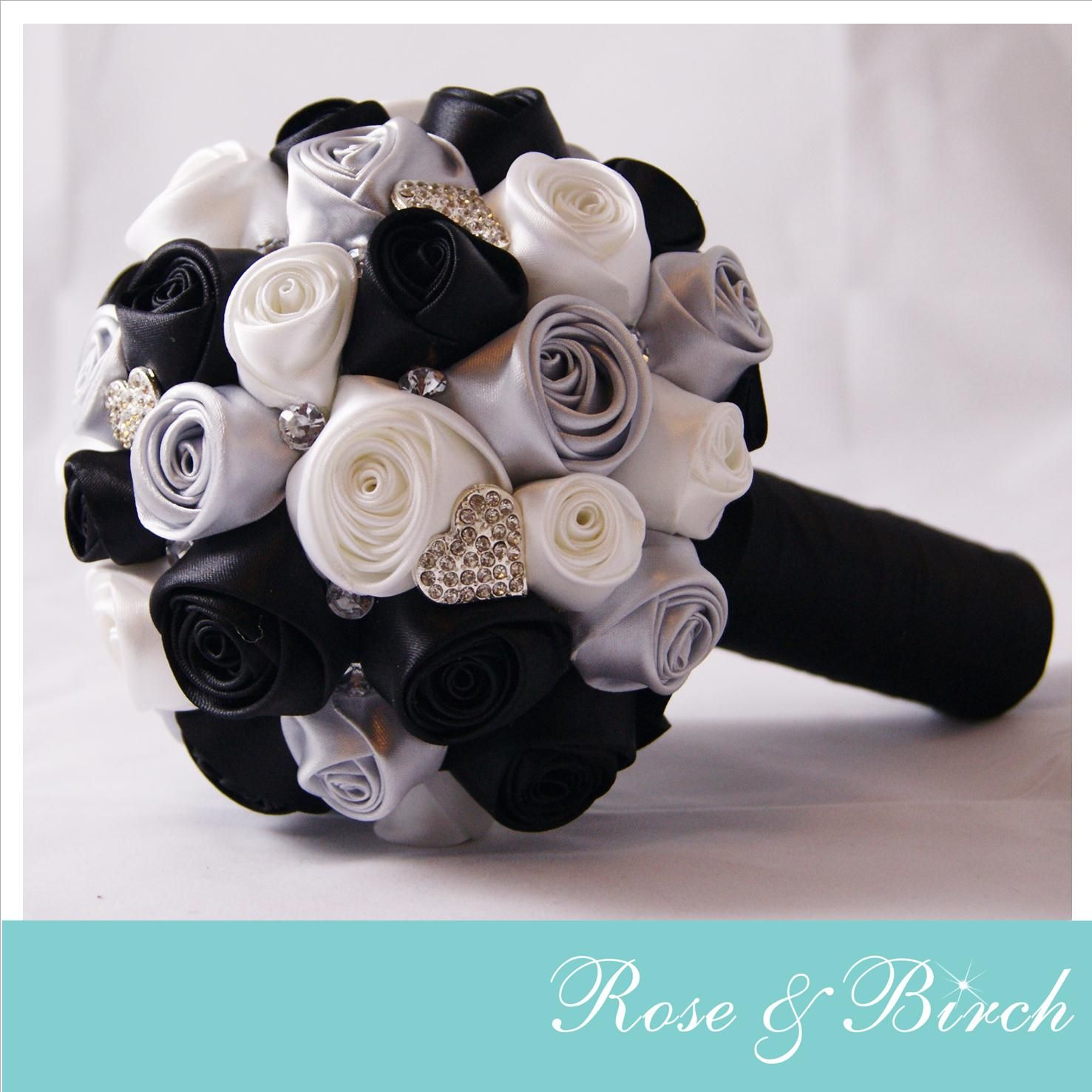 Small Bridal Wedding Bouquet In Black White Silver With Bling