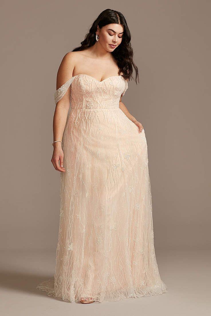 View Cap Sleeves Long Wedding Dress At David S Bridal Davids Bridal Wedding Dresses Plus Wedding Dresses Floral Wedding Dress [ 1106 x 737 Pixel ]