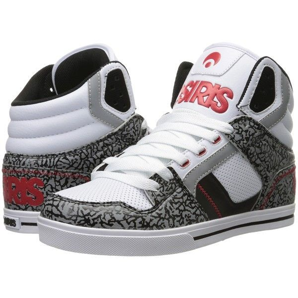 Osiris Clone (White/Red/Elephant) Men's Skate Shoes ($48) ❤ liked on  Polyvore featuring men's fashion, men's shoes, men's sneakers, grey, mens  white high ...
