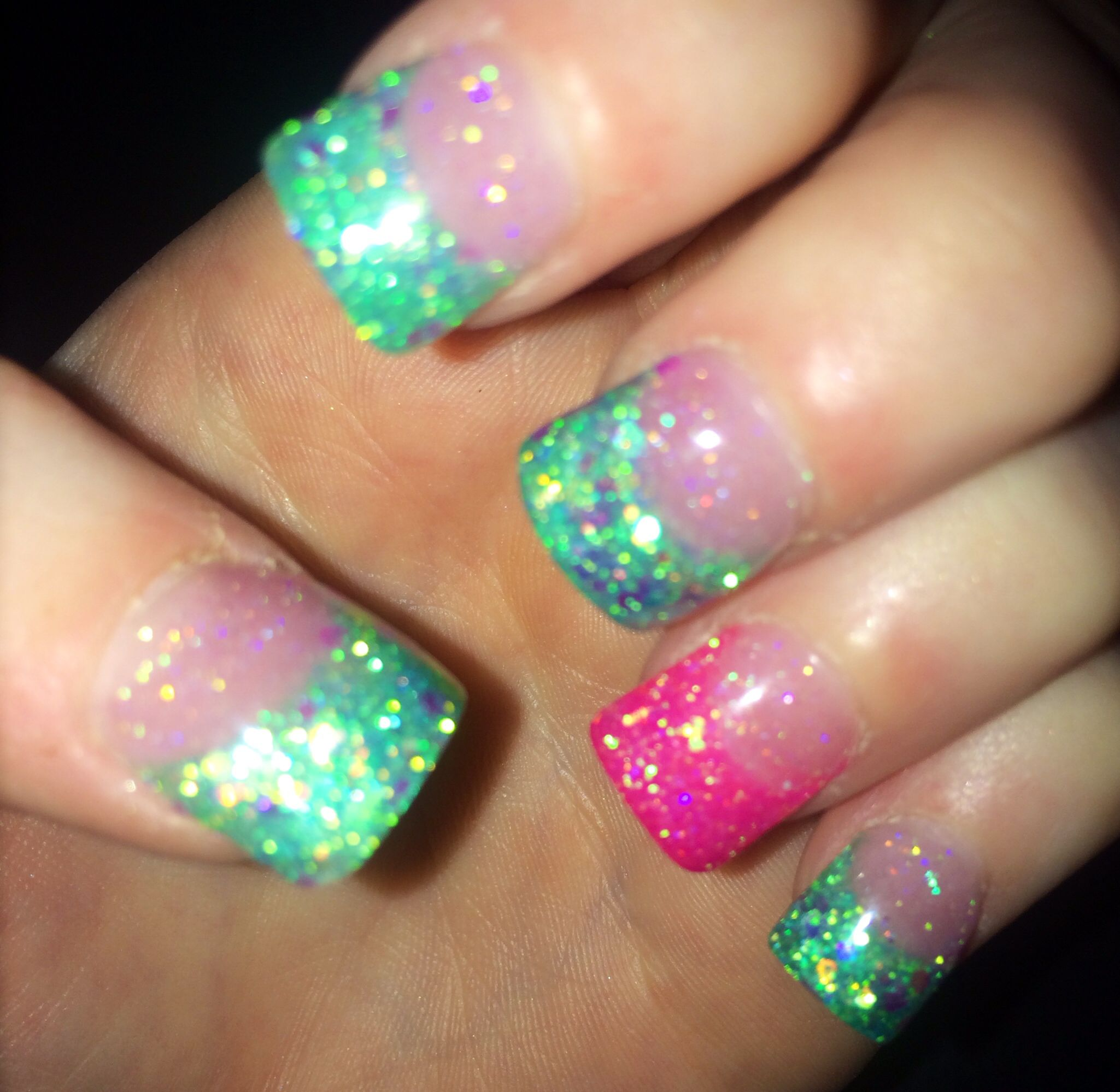 Teal and pink glitter acrylic nails   Nails   Pinterest   Uñas ...