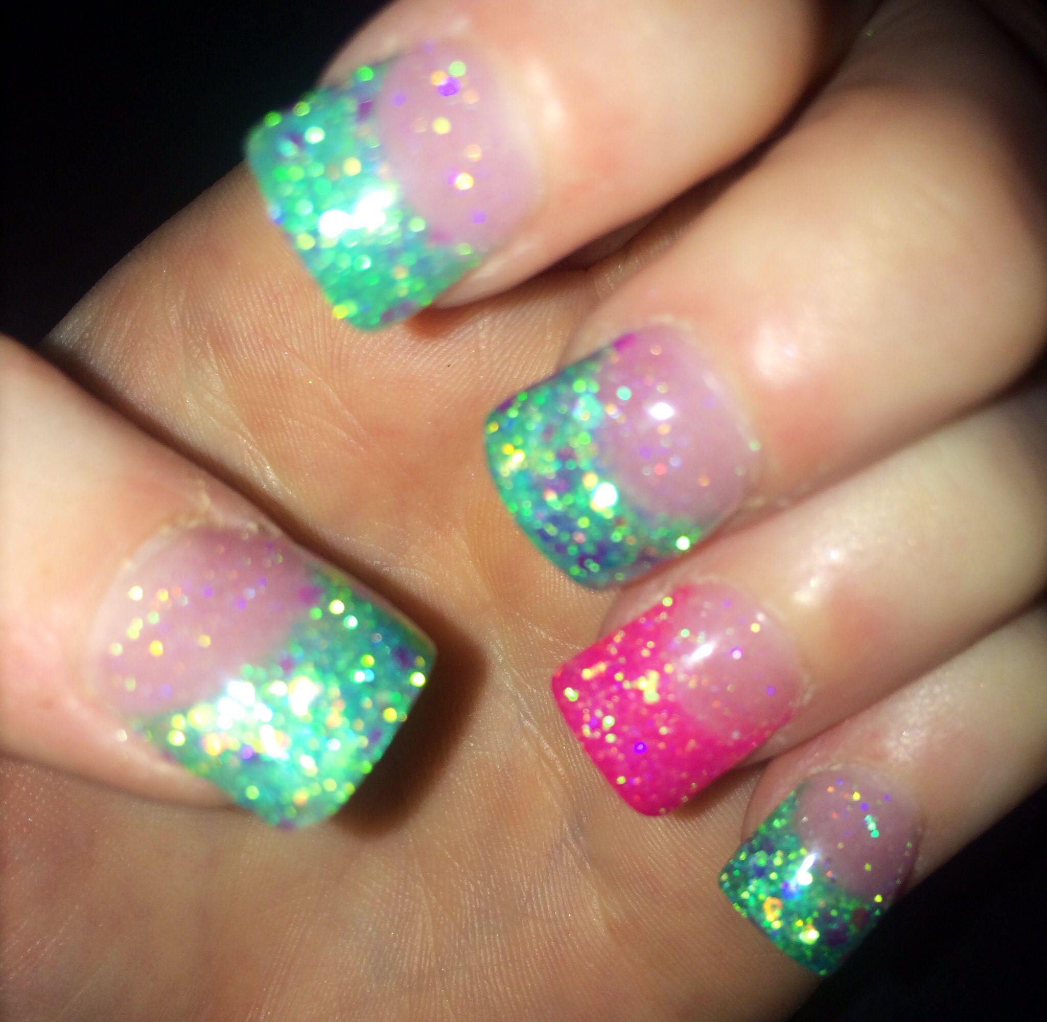 Teal Acrylic Nails On Pinterest