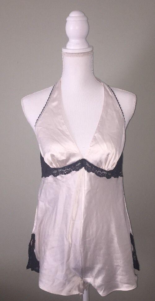 Victoria Secret Medium Champagne Teddy Bodysuit Lingerie Black Lace Satin Romper    eBay