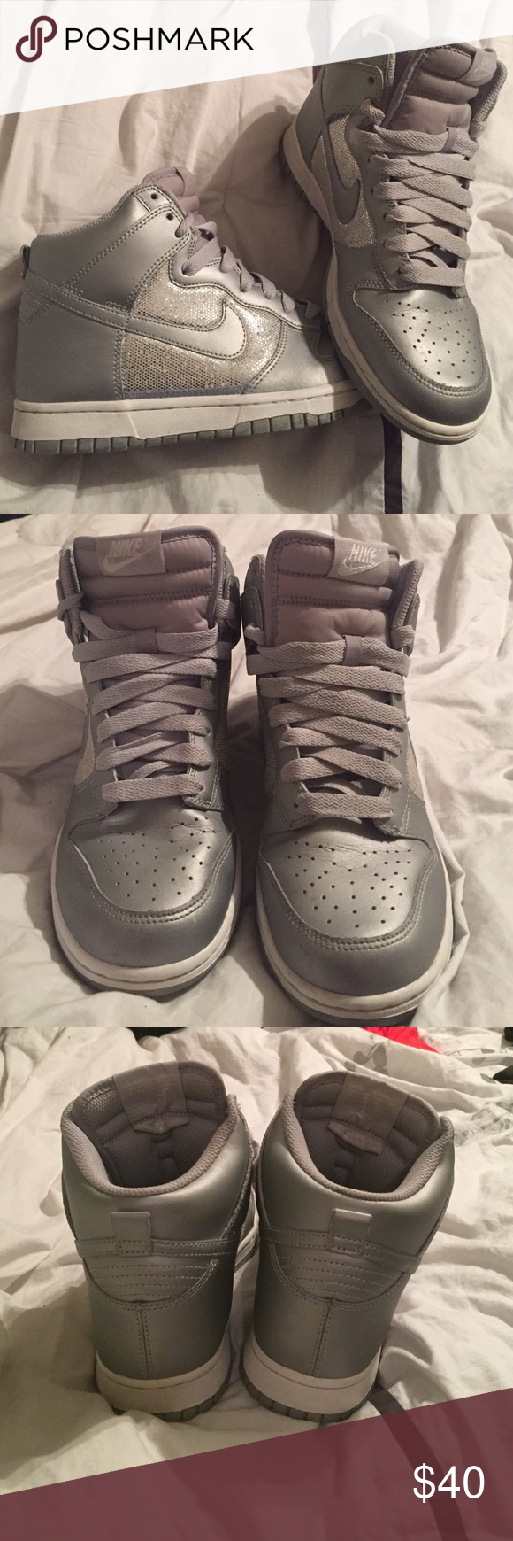 Nike silver hi-tops Nike silver and sequin hi-tops. Like-new condition Nike Shoes Sneakers