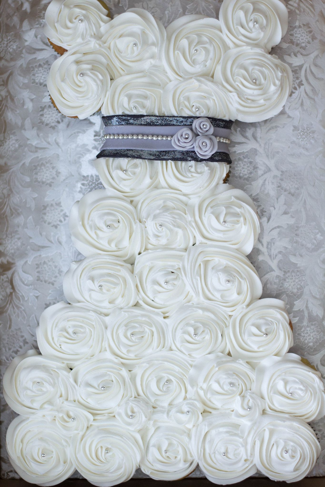 black + silver wedding dress cupcake cake | wedding dress cupcakes