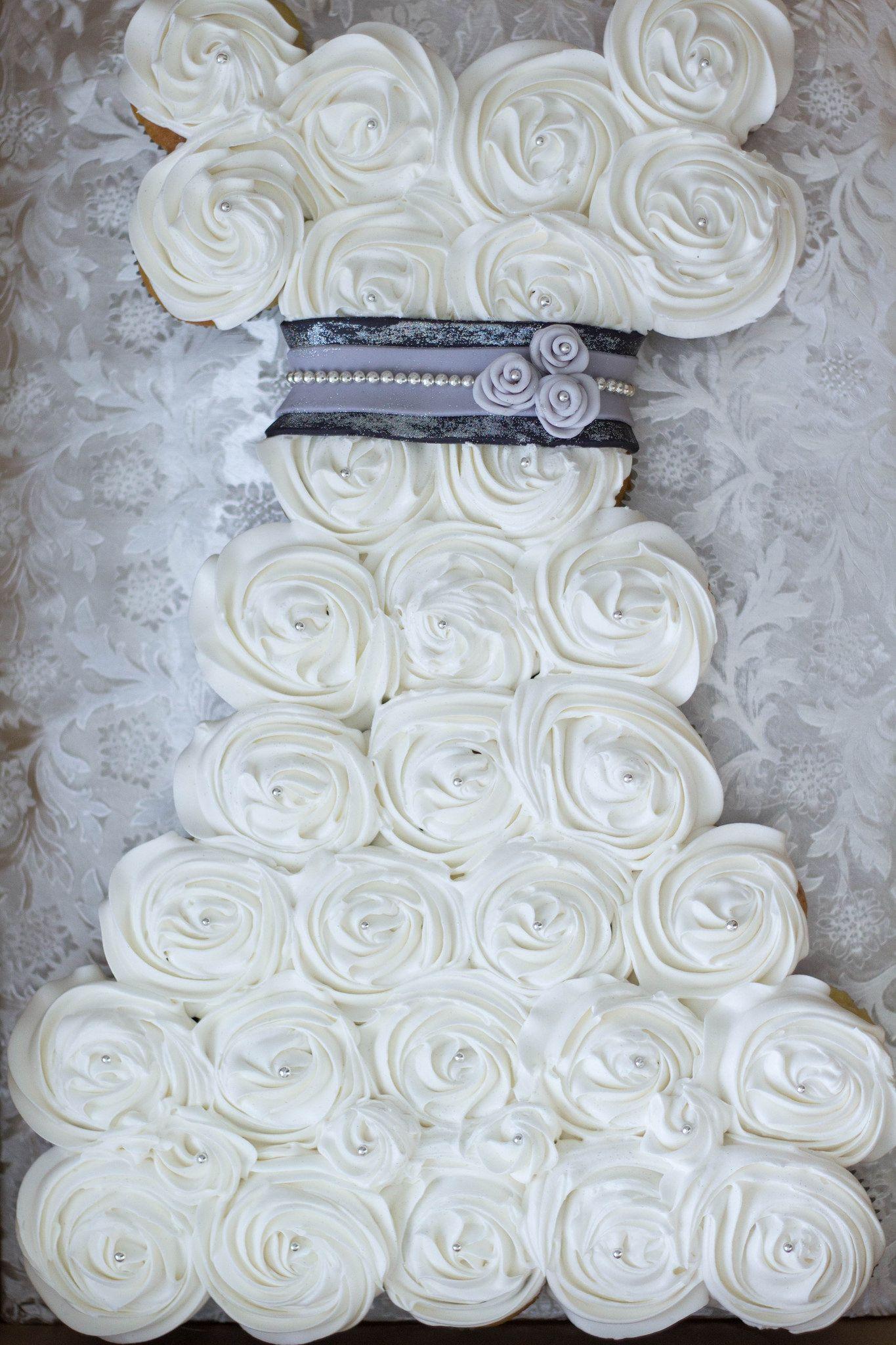 black + silver wedding dress cupcake cake | wedding dress cupcakes