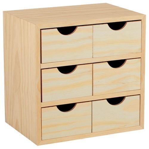 Bloc rangement 6 tiroirs 28x20x28cm - pin massif en 2020 | Boîte en bois diy, Boîte à outils en ...