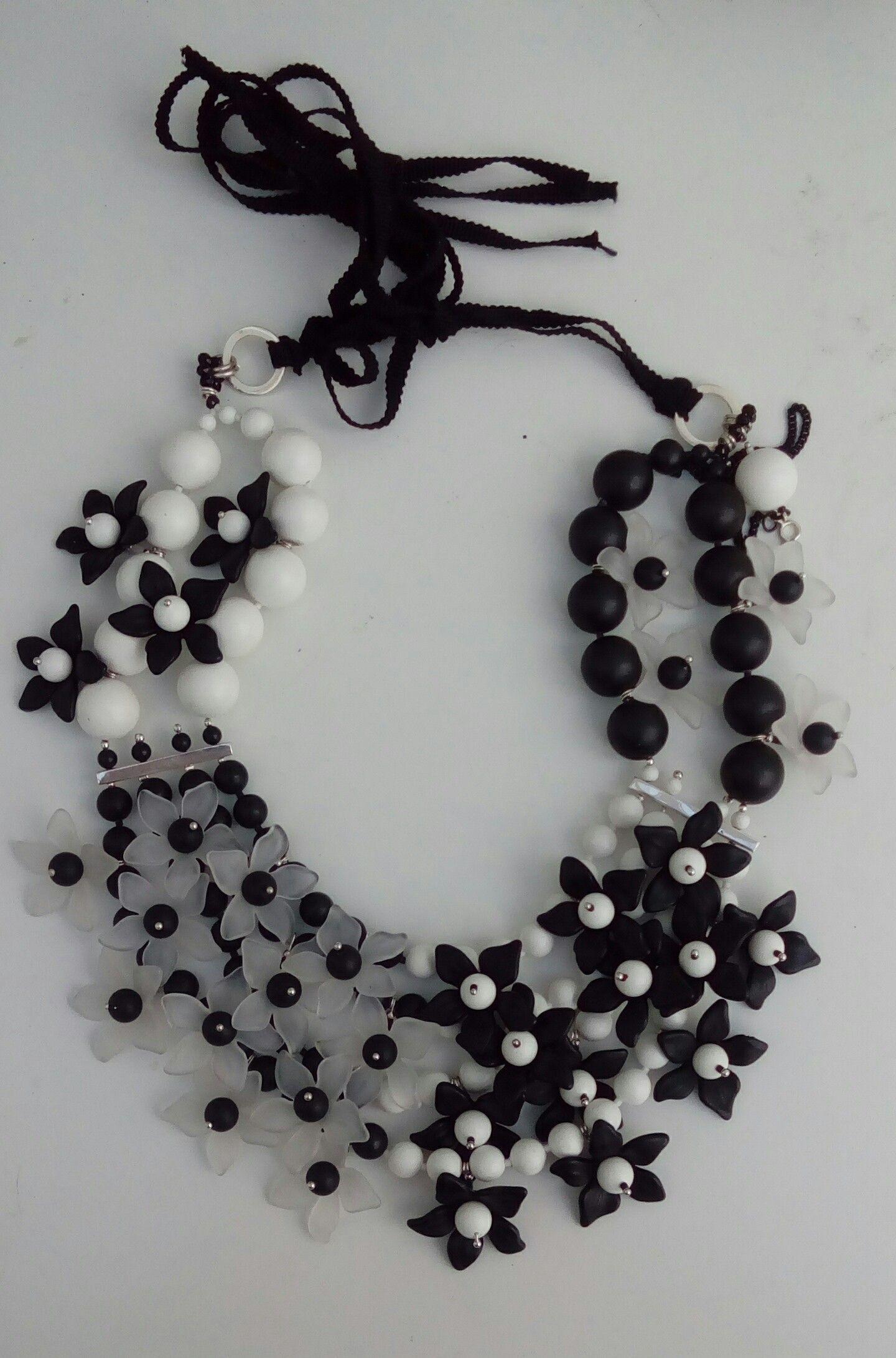 Black & White Floral Neckpiece #AW15 #StudioPic #Flowers #MelissaCurry