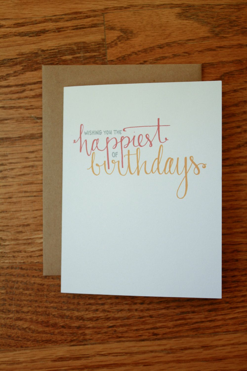 Happiest of Birthdays Hand Lettering card. $2.50, via Etsy.