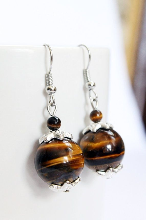 Tiger eye Gemstone Earrings Silver Plates Genuine by NumageLab