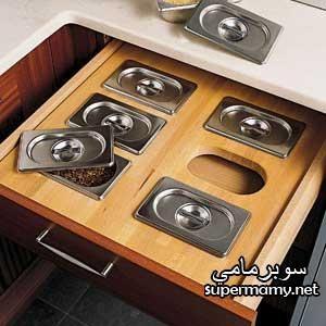 افكار وحلول ذكيه للاستفاده من خزانات ودواليب وارفف المطابخ الصغيره ديكور المنازل والفيلات Stainless Steel Bins Diy Kitchen Decor Kitchen Design Decor