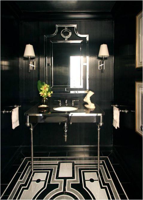 dramatic black powder room