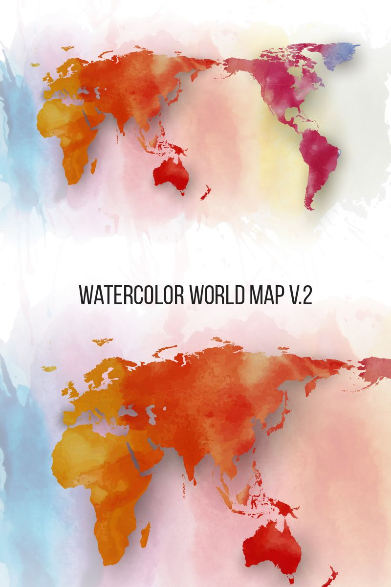 Watercolor World Map V 2 Illustration 76428 With Images Water