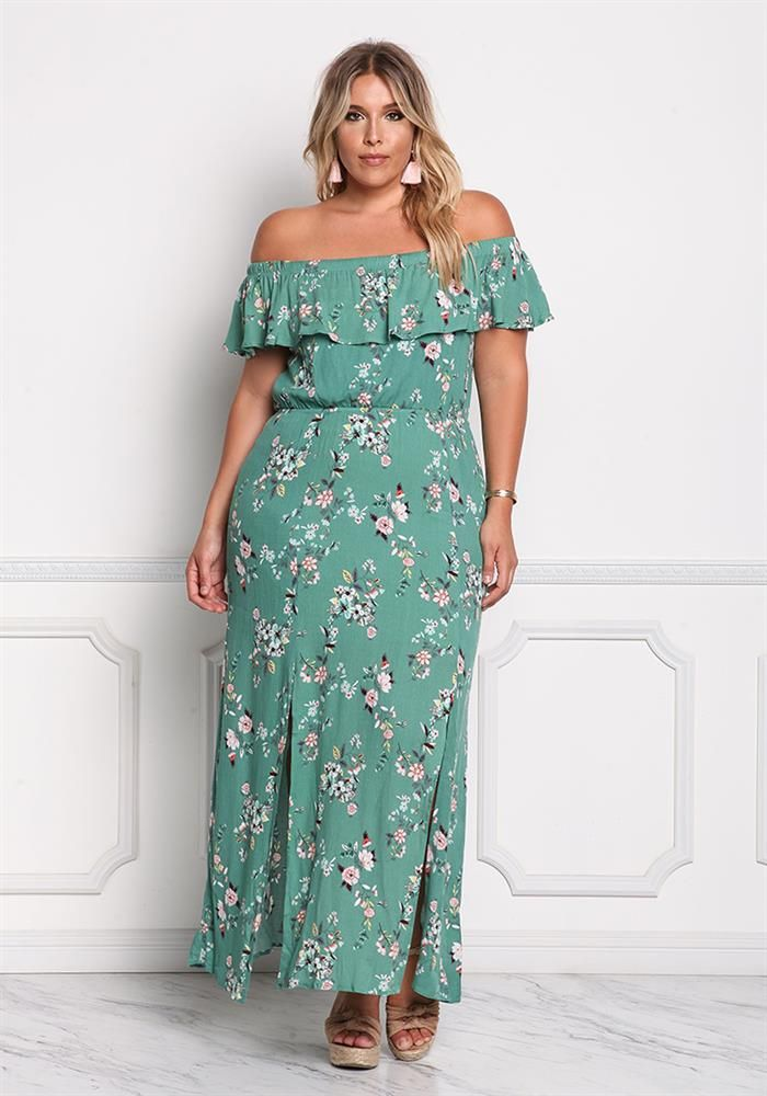 07fc79a1fdcb Plus Size Clothing | Plus Size Crepe Off Shoulder Floral Slit Maxi Dress |  Debshops