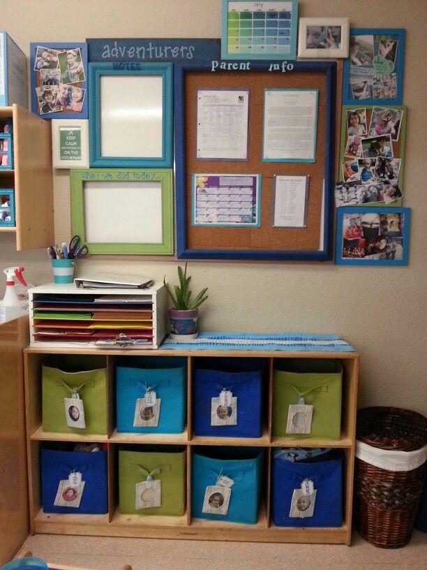 Parent corner, toddler classroom. Preschool classroom, cubby shelf, fabric bins…
