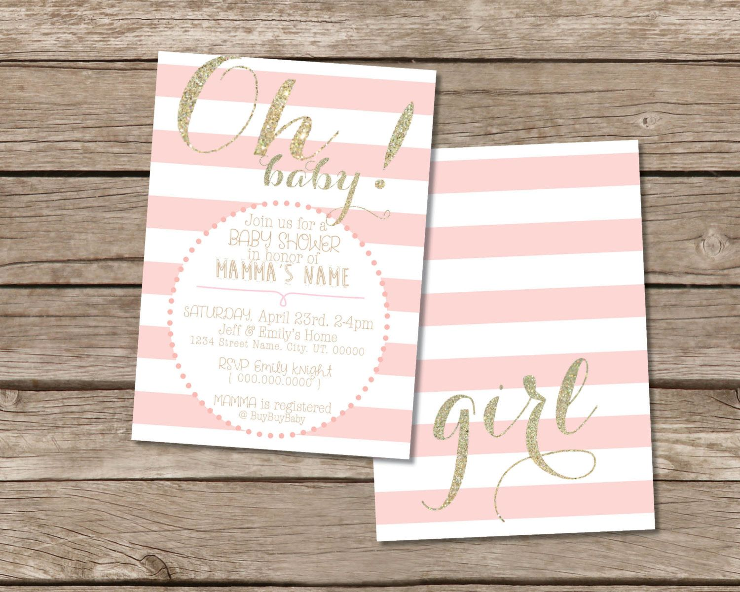 Oh Baby! Pink and Gold Baby Shower invitation | Gold baby showers ...