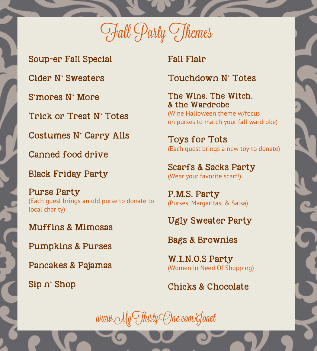 Fall is here! Pick your party date & pick a theme! | 31 bags ...