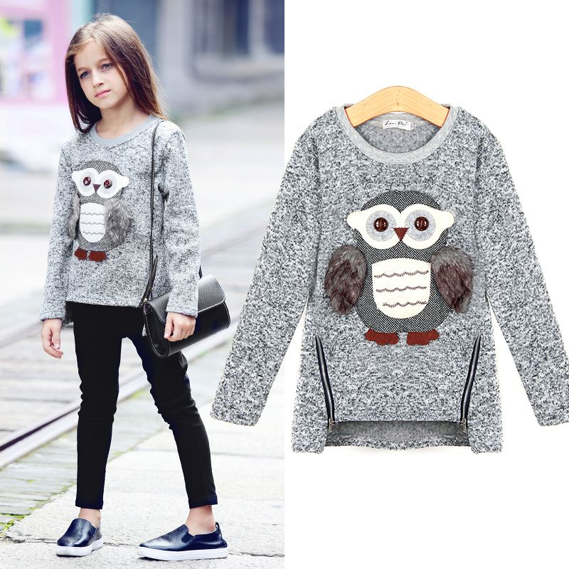 Aurorababy Big Girls Kids Sweatshirt Cartoon Owl Casual Sweater Coat