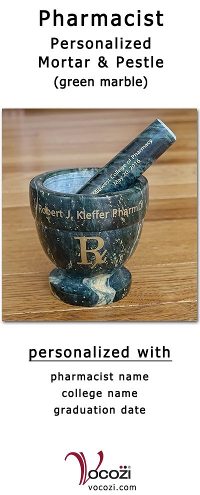 Doctor Of Pharmacy Pharmd Green Marble Mortar And Pestle Is Personalized With Pharmacist S Name College Graduation Date