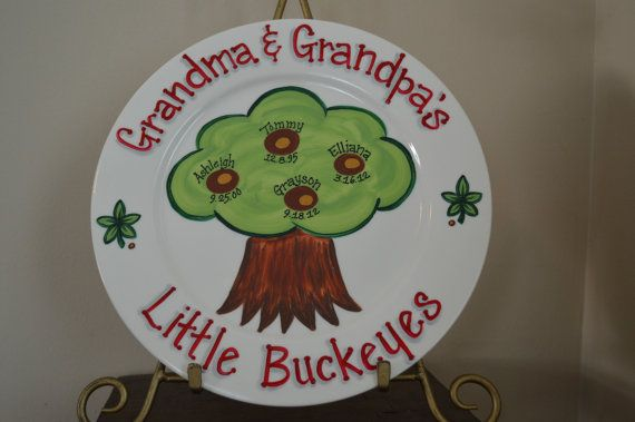 Ohio State Personalized Family Tree Plate, Hand Painted Custom Plaque, Little Buckeyes, Gift for Grandparents, OSU, Ohio State Home Decor on Etsy, $30.00