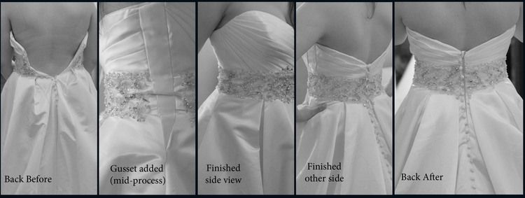 But What If Your Gown Is Too Small And You Don T Like Corsets This Is An Example Of A Gown Th Wedding Dress Alterations Dress Alterations Wedding Gown Bustle