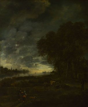 Aert van der Neer | A Landscape with a River at Evening | NG2283 | The National Gallery, London