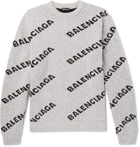 90fee3c0507dc0 Balenciaga Logo-Intarsia Knitted Sweater | Products | Sweaters ...