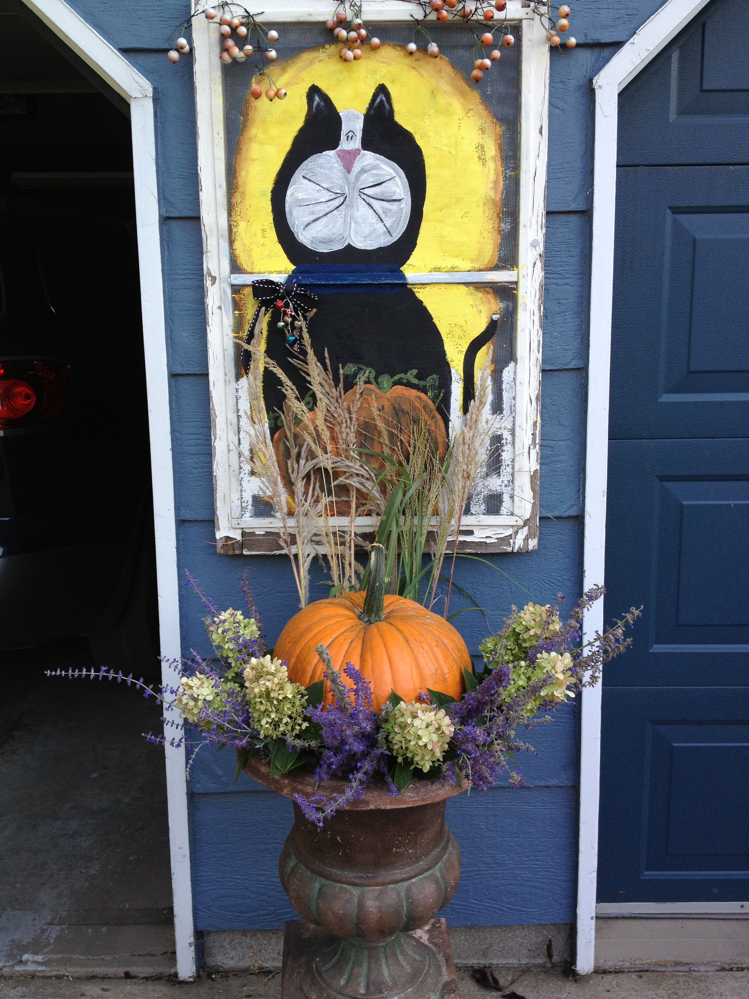 Halloween Decorations DIY! Urns with pumpkins, grasses, Mexican sage - Window Halloween Decorations