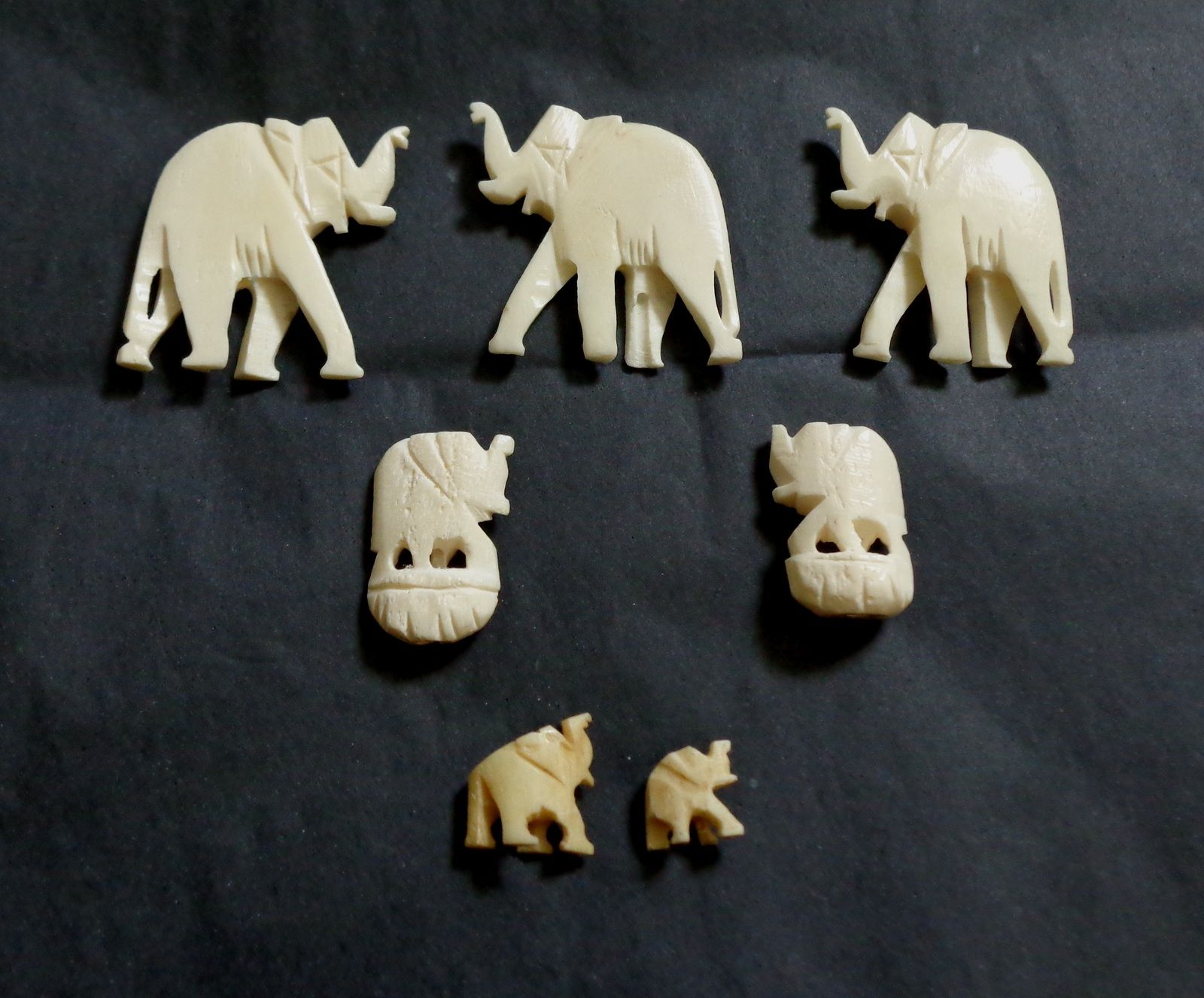 These Vintage Bovine Bone Carved Elephants Appear To All Have Been Part Of Different Necklaces They Have A Hole Through The B Bone Carving Carving Hand Carved