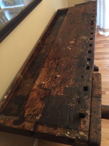 Antique-Carpenter-Workbench-Industrial-Wood-Carpenter-Table-Server-Bar-VTG-Old