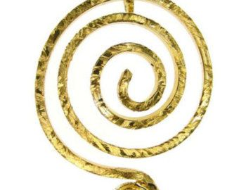 Gold Plated Pendant Spiral necklace made in by silverjewelrygr