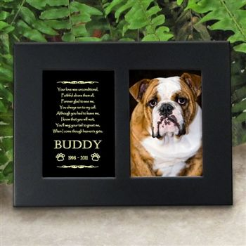 'Golden Memories' Personalized Pet Dog Memorial Picture Frame | EtchedInMyHeart.com | Satin Black Finish - $19.95
