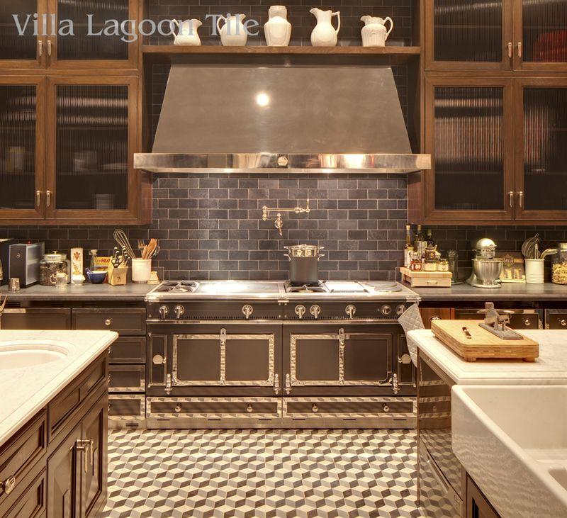 la cornue cooker in los angeles home with cement tile kitchen floor - La Cornue Kitchen Designs