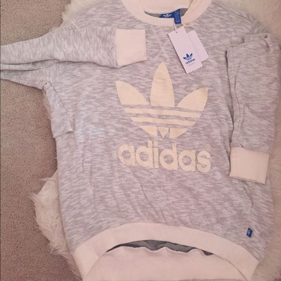 Grey/cream Adidas Original Sweater Lightweight, comfy Adidas original sweater with logo in the front and fold-over in the back. Cinched sleeves and bottom. Adidas Sweaters Crew & Scoop Necks