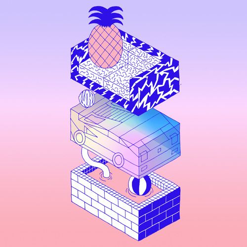 Illustration music pool 80s graphic design pineapple for Miami vice pool design