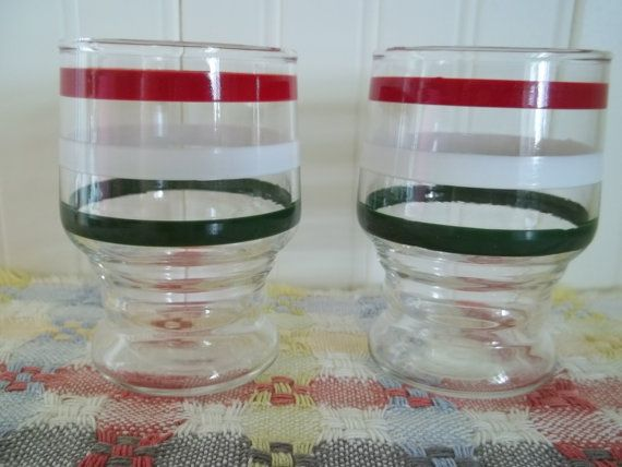 Juice for Two Striped ViNtaGe Glasses by blissfulfinds on Etsy