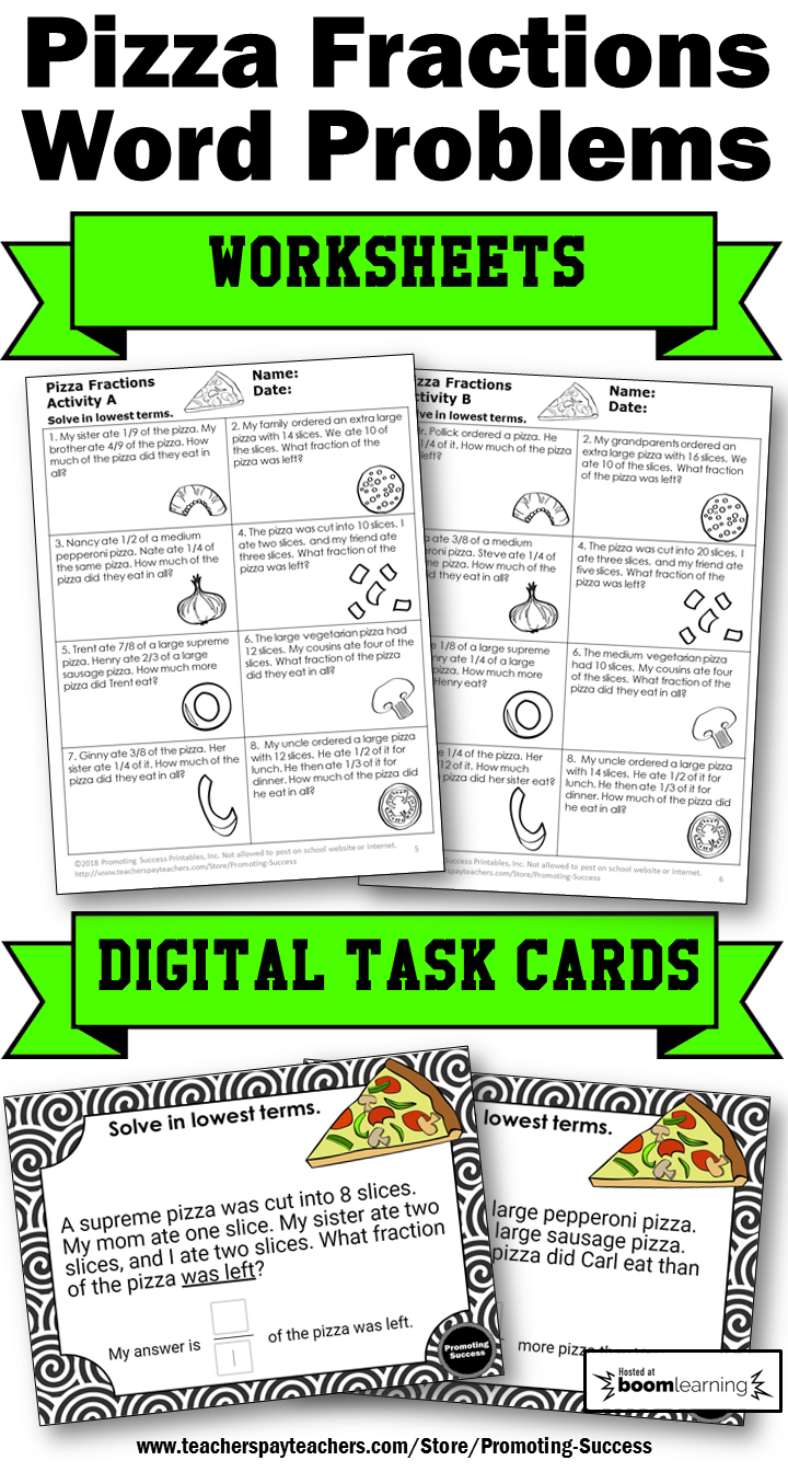 Boom Cards Pizza Fraction Word Problems Digital Task Cards Google Classroom Whiteboard 4th Gra Fraction Word Problems Word Problems Word Problems 3rd Grade [ 1344 x 720 Pixel ]