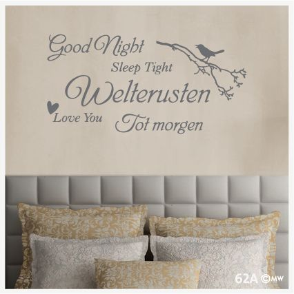 Slaapkamer-interieurtekst Good Night - Sleep Tight - Welterusten ...