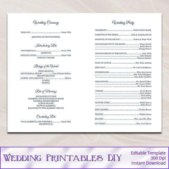 Catholic Wedding Program Template Diy Navy By WeddingPrintablesDiy