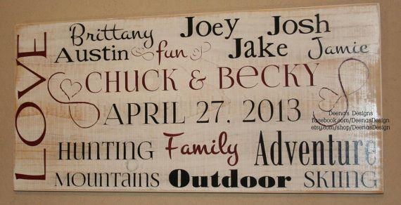 Blended Family Wedding Invitations: Blended Family Sign, Blended Family Wedding, Custom Wood