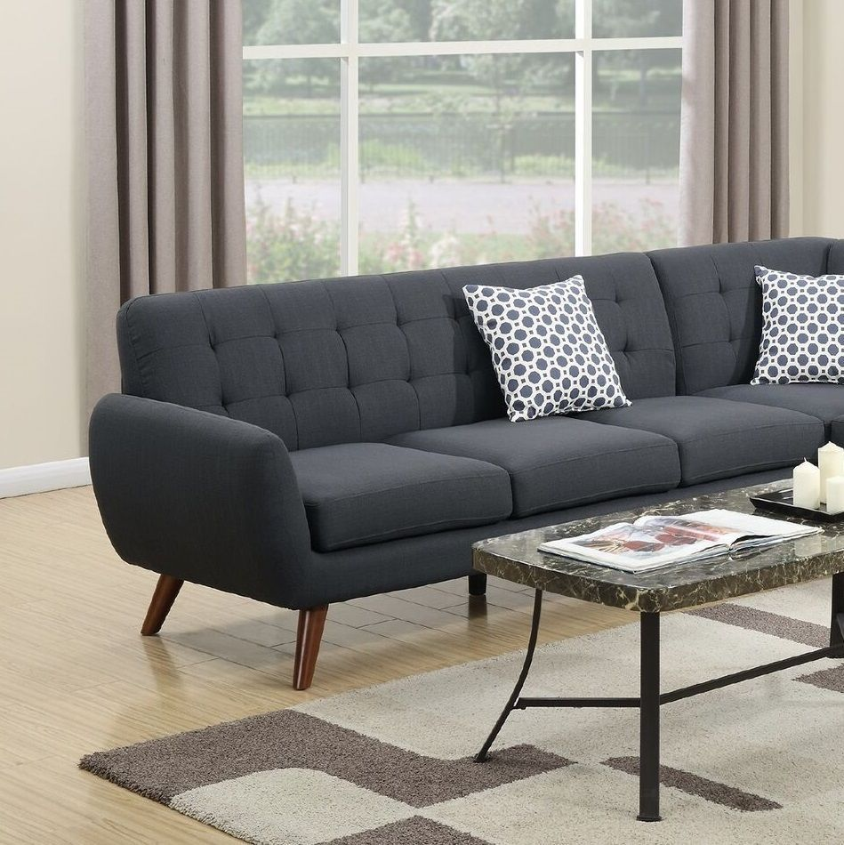 Attractive 2pc Sectional Sectionals Tufted Sofa Chaise Pillows Black Polyfiber Living  Room