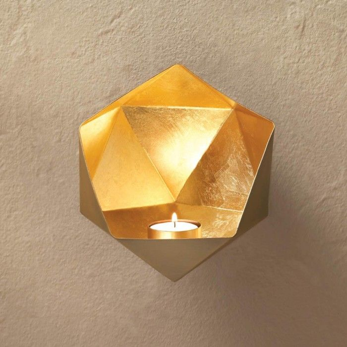 Your Wall Will Sparkle And Shine With Stunning Design When You Hang This  Geometric Golden Wall Sconce. The Gold Exterior And Faceted Metallic Gold  Interior ...
