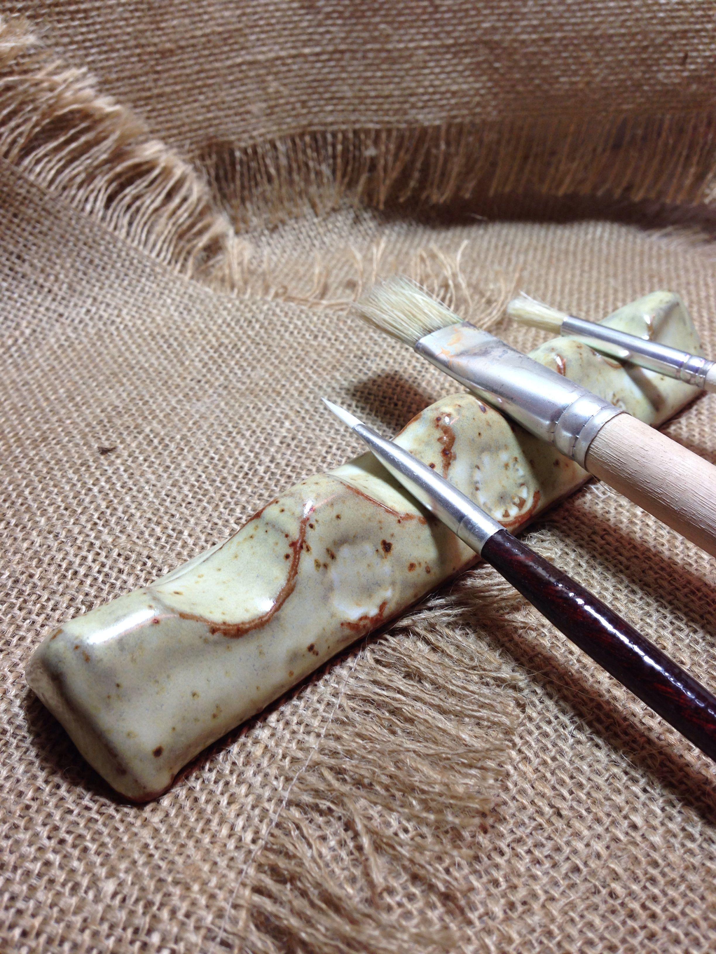 Buttermilk brush rest brush rest clay ceramics ceramic