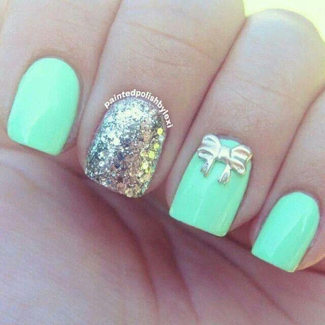 Uñas color menta   Nails   Pinterest   Color menta, Menta y Color