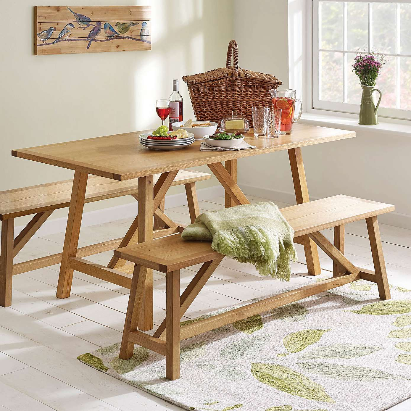 Sidmouth Oak Trestle Dining Table