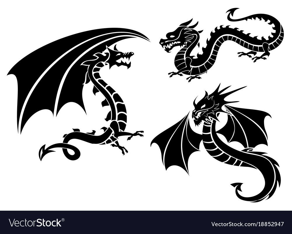 Silhouettes of three dragons vector image on VectorStock
