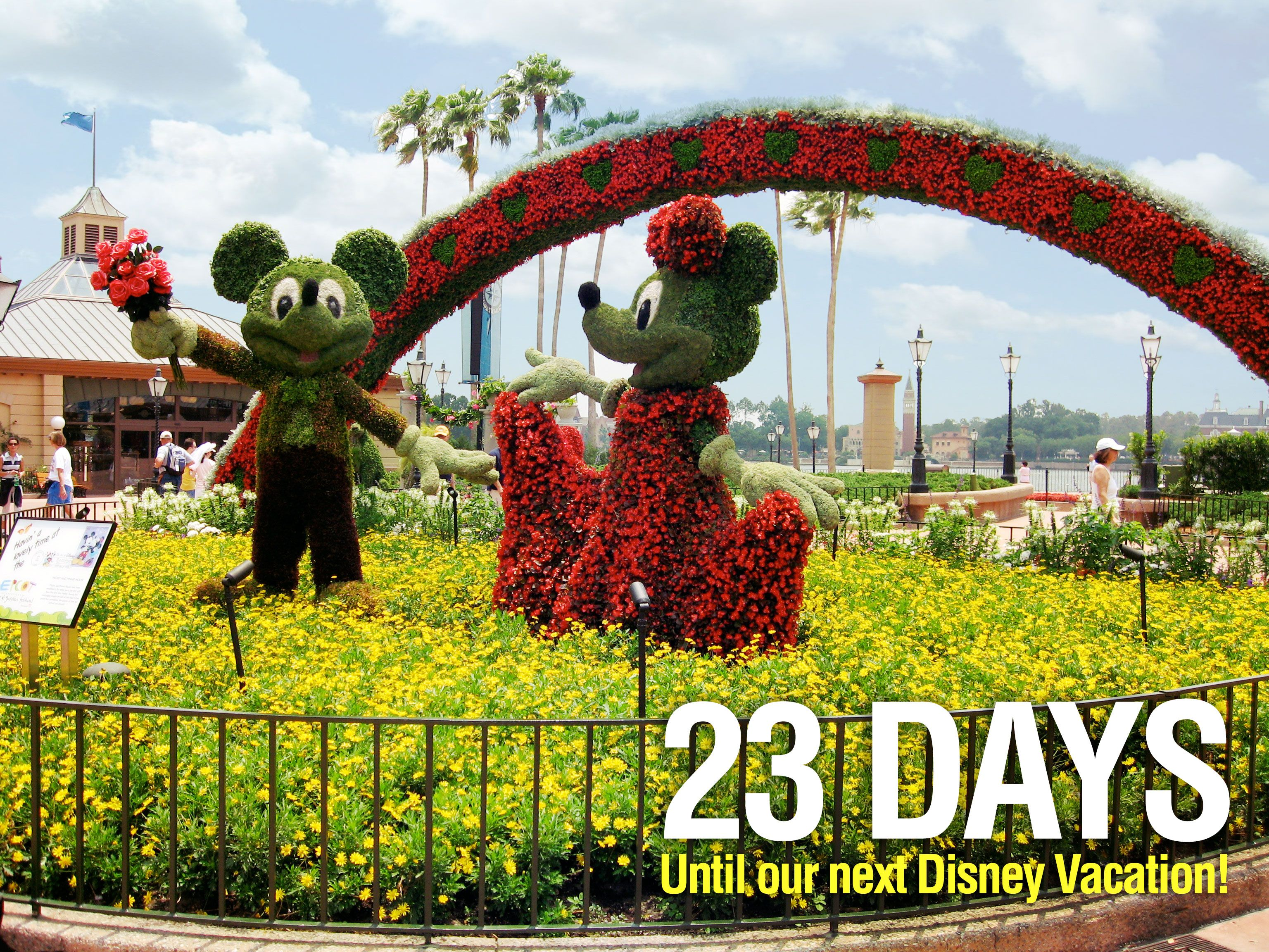 """23 Days until our next Disney Vacation!  We are counting the days to our next Disney trip with our favorite pics taken at the parks. This photo is of a Mickey and Minnie topiary located in Epcot. Let us know if you """"Like""""."""